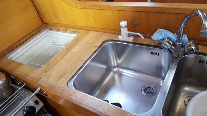Galley worktop with fridge top open